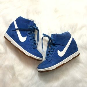 Nike Dunk Sky Hi Blue Suede Wedge Lace Up Sneakers